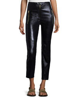 Zip-Trimmed Leather Pants, Black