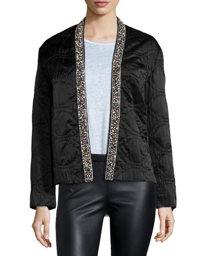 Bead-Embellished Quilted Cotton/Silk Jacket, Black