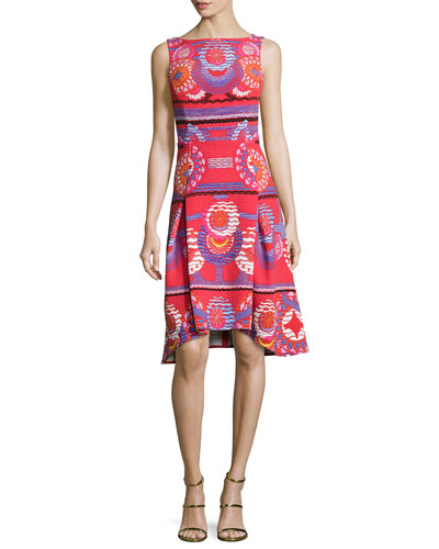Sleeveless Medallion-Print Dress, Red