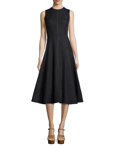 Sleeveless Denim A-Line Dress, Black/Natural