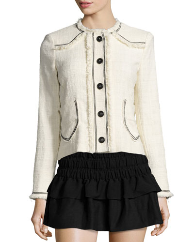 Ferris Fringed Linen Button Jacket