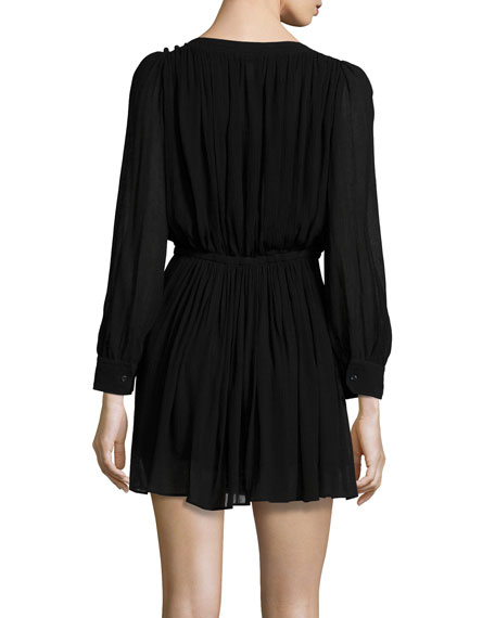 Karla Long-Sleeve Pleated Dress, Black