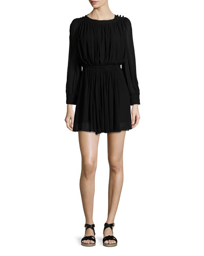 Karla Long-Sleeve Pleated Dress, Black