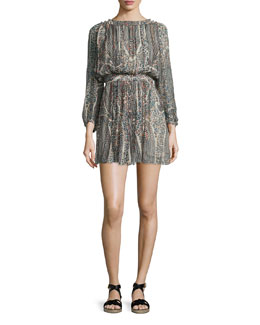 Sharla Paisley-Print Silk Blouson Dress