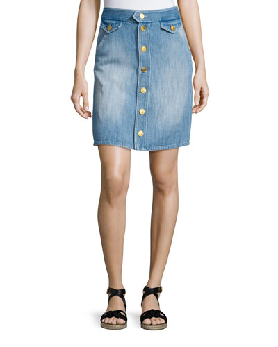 Odelle Button-Down Denim Skirt