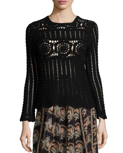 Heloise Crocheted Long-Sleeve Sweater