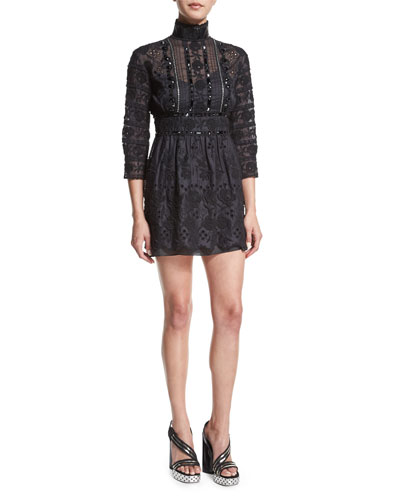 Beaded Lace Victorian Mock-Neck Dress, Black