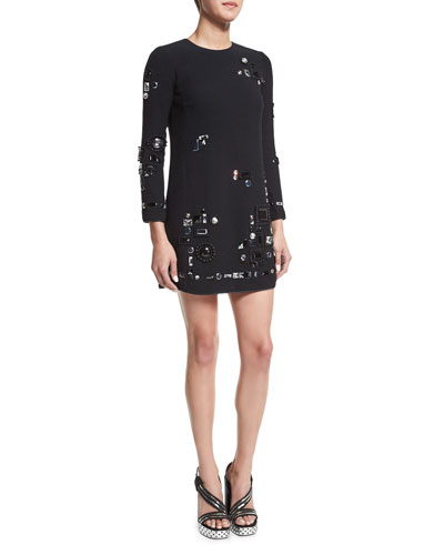 Crystal-Embellished Mini Shift Dress, Black