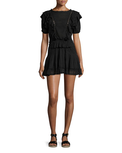 Naoko Smocked Ruffle Cotton Dress, Black