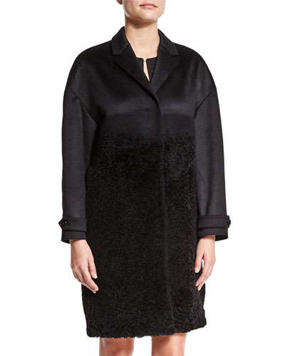 Cashmere/Fur Long Coat, Black