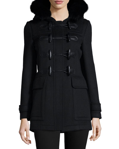 Fitted Wool Coat w/Fur Hood, Black