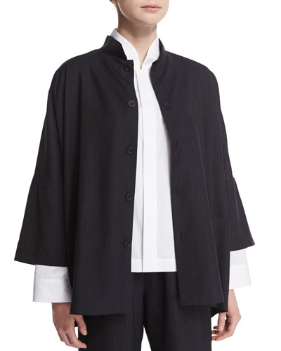 Lightweight Wool Mandarin-Collar Jacket, Ink