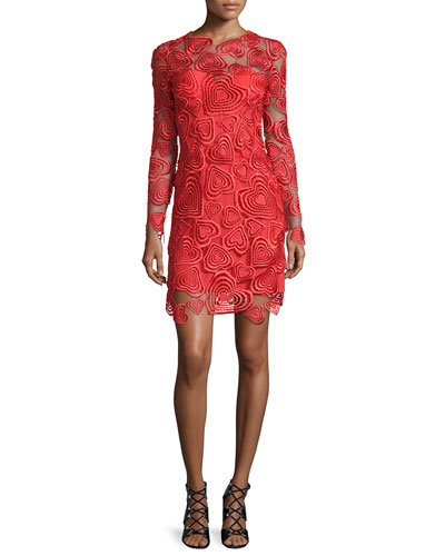 Long-Sleeve Embroidered-Heart Illusion Dress, Red