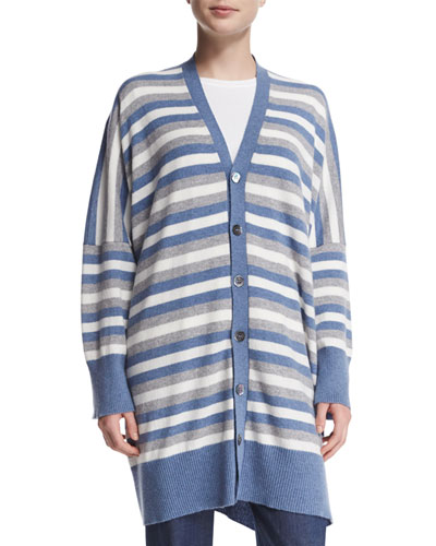 Oversized Striped Cashmere Cardigan, Mix