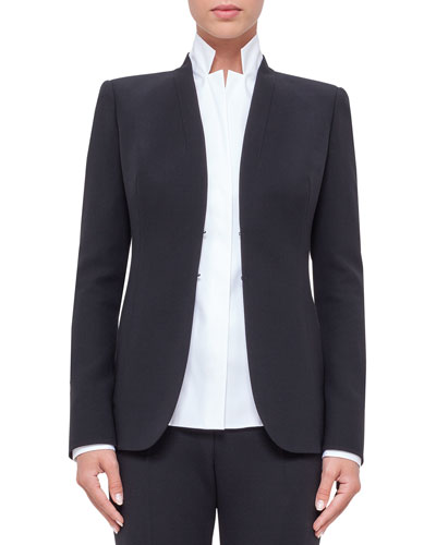 Shawl-Collar Wool Jacket, Black