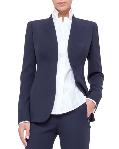 Shawl-Collar Wool Jacket, Navy