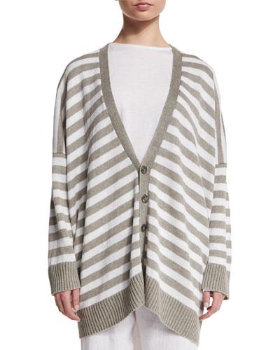 Striped Linen V-Neck Cardigan, White