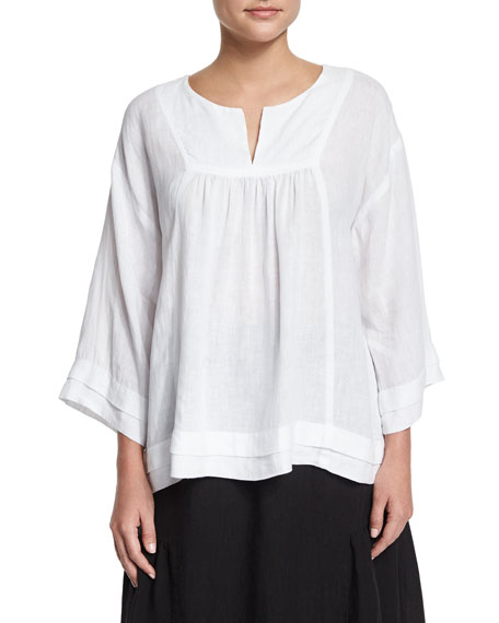 Eskandar Artisan-Pleated Handkerchief Linen Top, White