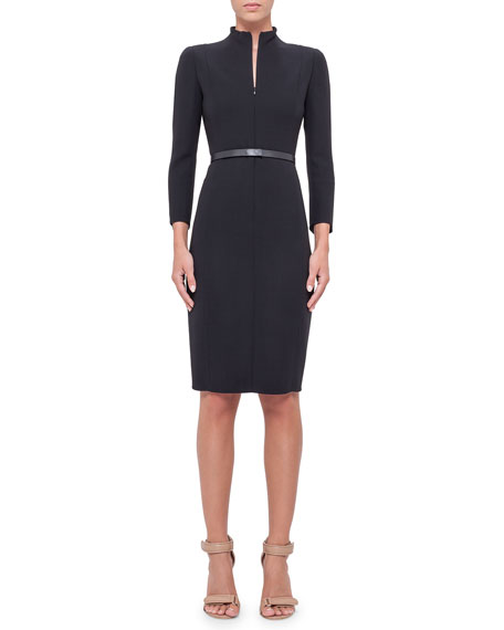 Akris Split-Neck Double-Face Wool Sheath Dress, Navy