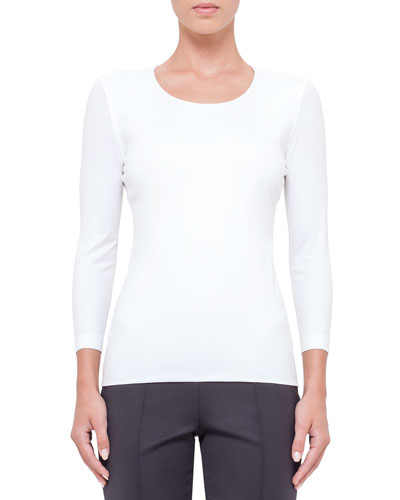 3/4-Sleeve Round-Neck T-Shirt, Off White
