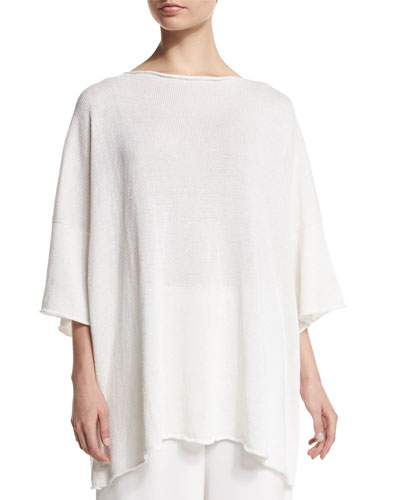 3/4-Sleeve Sequined Knit Tunic, White
