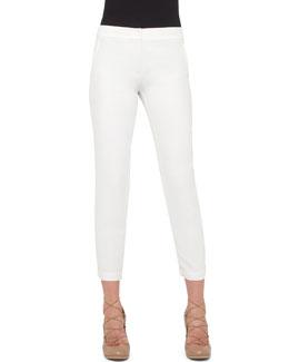 Spa Crepe Ankle Pants, Cream