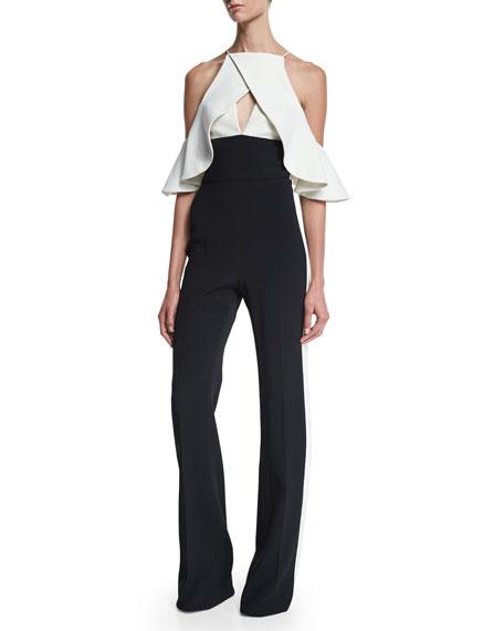 Ruffle-Sleeve Bicolor Crepe Halter Jumpsuit, Black