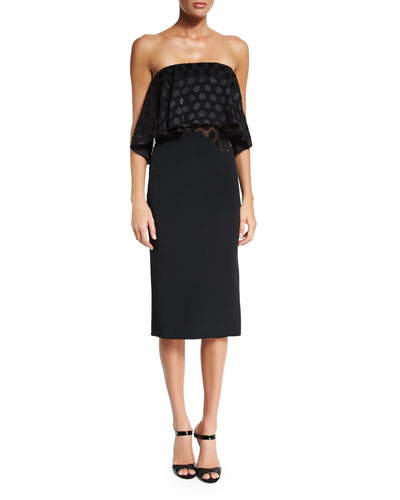 Strapless Satin-Dot Blouson Dress, Black