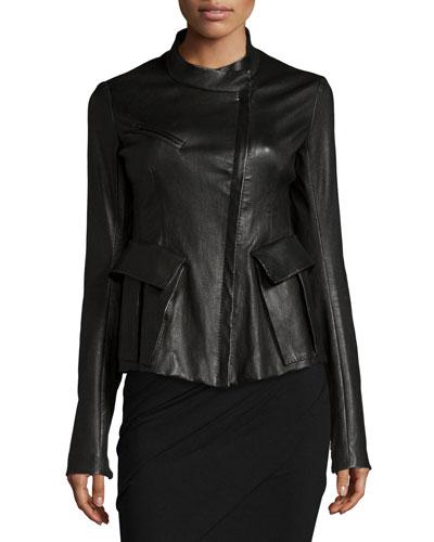 Antiqued Stretch-Leather Jacket, Black