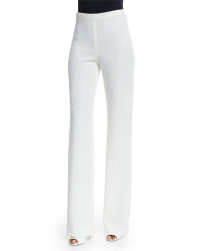 Fluid High-Waist Pants, Ivory