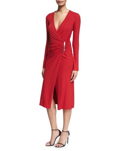 Long-Sleeve Surplice Matte Jersey Dress, Ruby