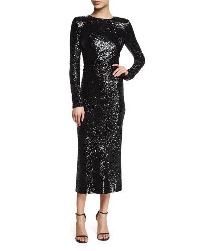 Long-Sleeve Sequined Dress, Black