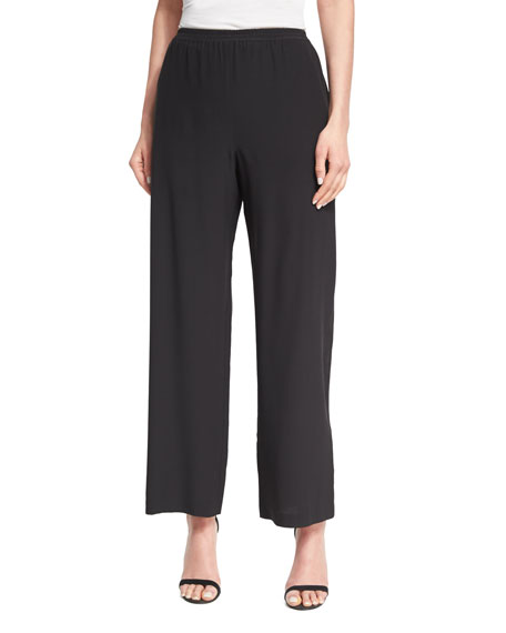 Wide-Leg Silk Trousers, Black