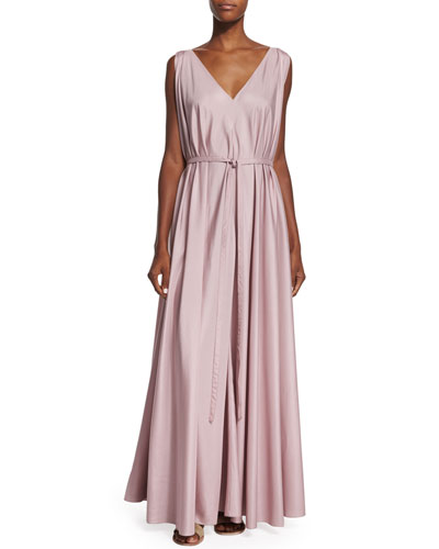 Silk Organza Self-Belt Gown, Cinder Rose