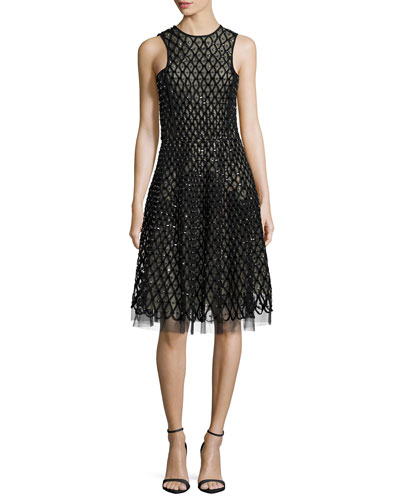 Beaded Chiffon Racer-Bodice Dress, Black