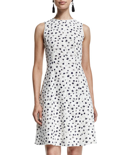 Sleeveless Dotted Lace A-Line Dress