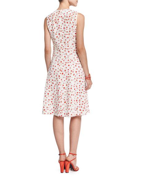 Sleeveless A-Line Dot-Print Silk Dress, Persimmon