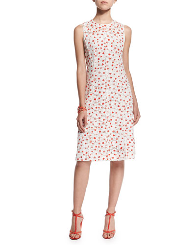 Sleeveless A-Line Dot-Print Silk Dress, Persimmon