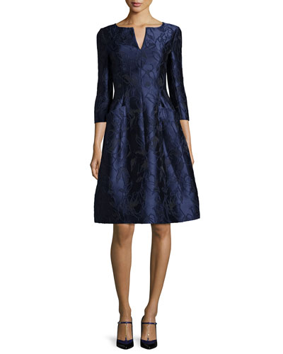 3/4-Sleeve Floral-Embroidered Dress, Marine Blue