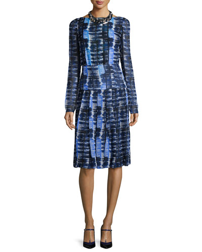 Long-Sleeve Grid-Print Silk Chiffon Dress, Blue/White