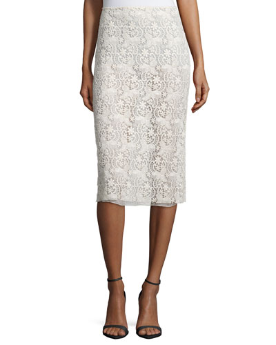Guipure-Lace Pencil Skirt, Ivory