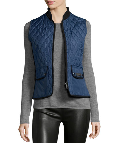 Quilted Two-Tone Vest, Racing Blue