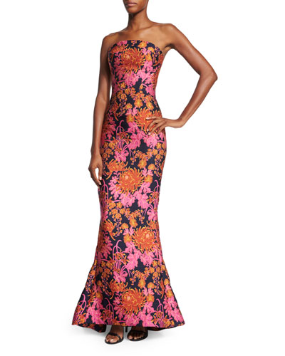 Strapless Floral-Print Trumpet Gown, Multi Colors