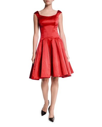 Duchess Satin Cap-Sleeve Cocktail Dress, Hibiscus