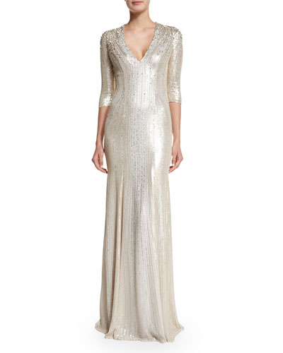 3/4-Sleeve Beaded Silk Gown, Lunar