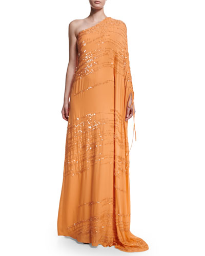 One-Sleeve Beaded Silk Georgette Gown, Mandarin