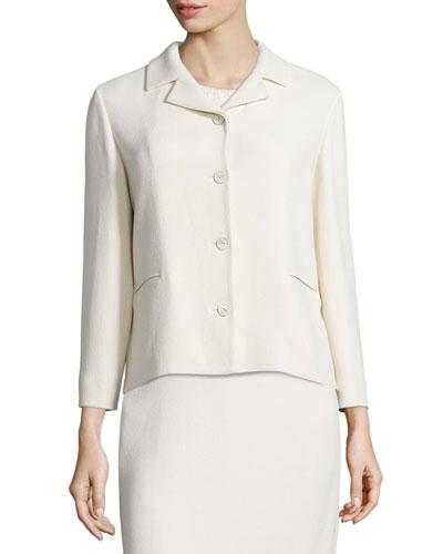 Relaxed Bracelet-Sleeve Crepe Jacket, Ivory