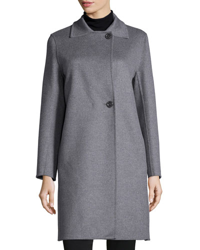 Two-Button Double-Face Wool-Blend Coat, Light Gray