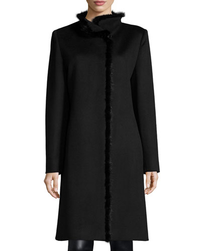 Mink-Trimmed Wool-Blend Coat, Black
