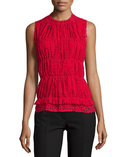 Sleeveless Ruched Eyelet Top, Red